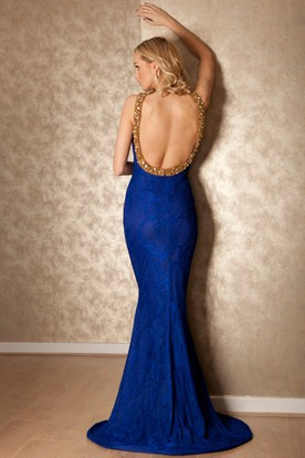 Beaded High Neck Sleeveless Lace Prom Dress With Brush Train