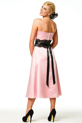 Tea-Length Appliqued Strapless Satin Bridesmaid Dress With Bow