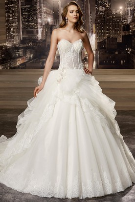 Sweetheart A-line Wedding Gown with Beaded Corset and Asymmetrical Ruffles