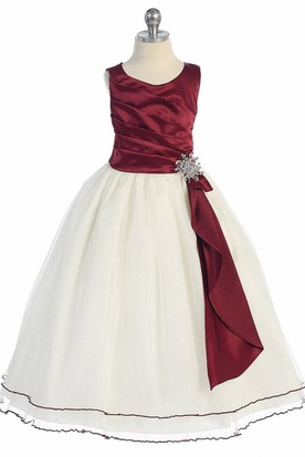 Broach Tea-Length Pleated Satin Flower Girl Dress With Ruffles