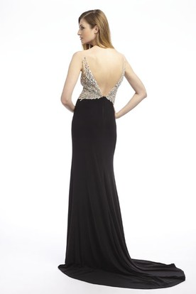 Sheath Floor-Length V-Neck Beaded Sleeveless Jersey Prom Dress With Split Front