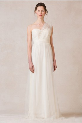 Sleeveless Ruched One-Shoulder Tulle Bridesmaid Dress With Straps