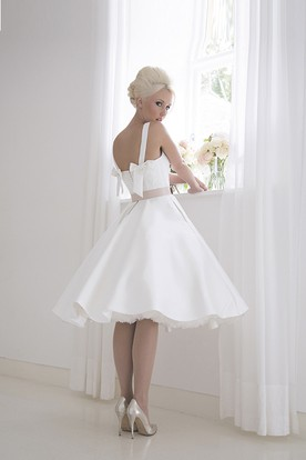 A-Line Tea-Length Square Neck Ribboned Sleeveless Satin Wedding Dress