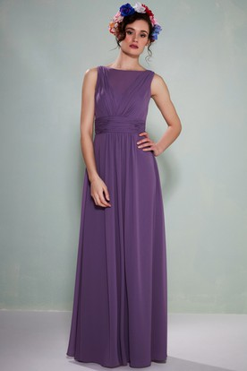 Bateau Neck Ruched Sleeveless Chiffon Bridesmaid Dress With Illusion Back