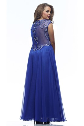 A-line Ankle-length V-neck Cap Jersey Beading Pleats Illusion Dress