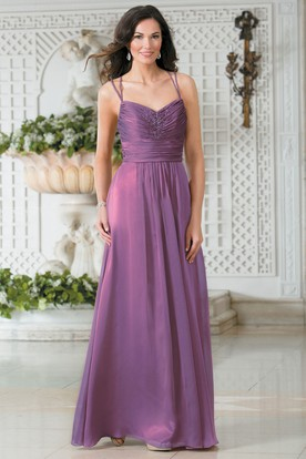 Sleeveless A-Line Long Bridesmaid Dress With Sequins And Ruches