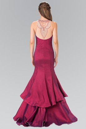 Trumpet Scoop-Neck Sleeveless Satin Illusion Dress With Beading And Tiers