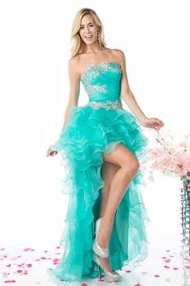 A-Line High-Low Strapless Sleeveless Organza Backless Dress With Beading And Tiers