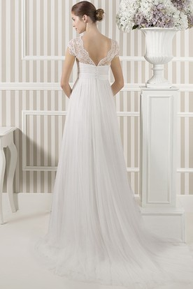 V-Neck Cap Sleeve Appliqued Empire Tulle Wedding Dress