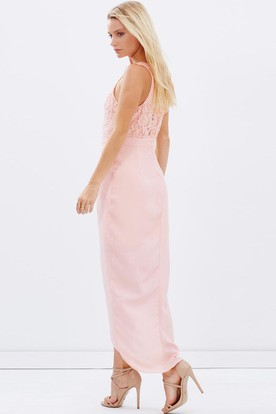 High-Low Lace Scoop Neck Sleeveless Chiffon Bridesmaid Dress