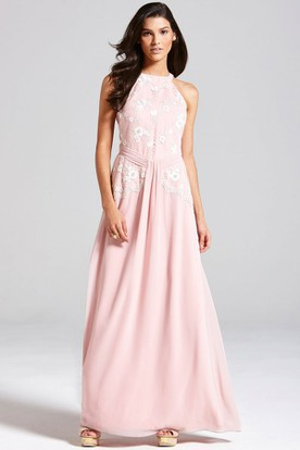 Floor-Length Floral Sleeveless High Neck Chiffon Bridesmaid Dress