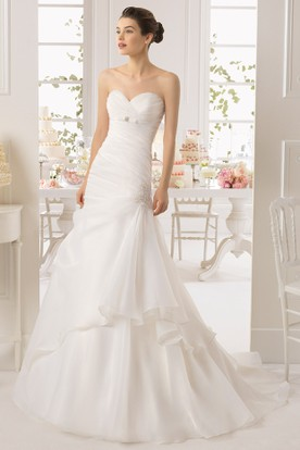 A-Line Sweetheart Maxi Organza Wedding Dress With Ribbon And Draping