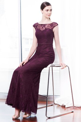 Ankle-Length Bateau Neck Sleeveless Lace Bridesmaid Dress With Low-V Back