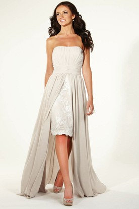 Pencil Appliqued Strapless Chiffon Bridesmaid Dress With Pleats