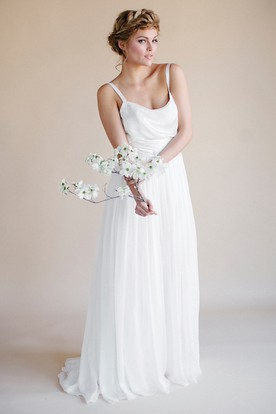 Spaghetti Floor-Length Chiffon Wedding Dress With Pleats And V Back