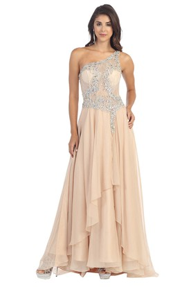 A-Line Maxi One-Shoulder Sleeveless Chiffon Illusion Dress With Lace And Draping