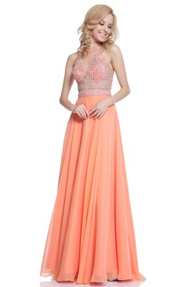 A-Line Jewel-Neck Sleeveless Chiffon Low-V Back Dress With Beading And Pleats