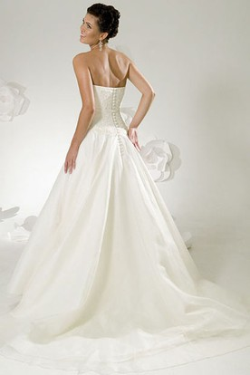 A-Line Maxi Sweetheart Satin Wedding Dress With Lace And Brush Train