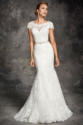 Trumpet Cap-Sleeve Jeweled Maxi Scoop-Neck Lace Wedding Dress With Appliques And Bow