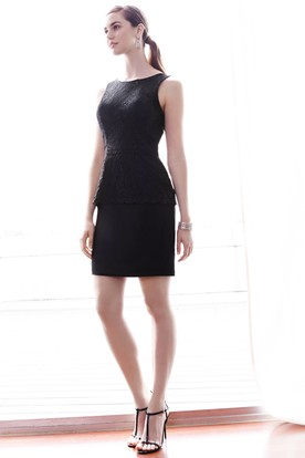 Mini Sleeveless Splitted Scoop Neck Lace Bridesmaid Dress With Deep-V Back