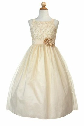 Tea-Length Sleeveless Embroideried Tulle&Taffeta Flower Girl Dress