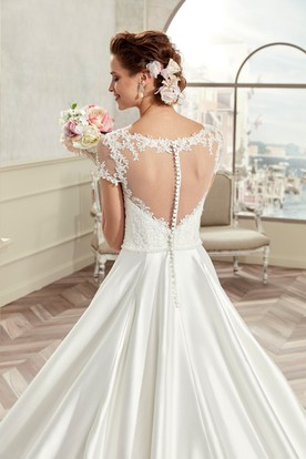 Jewel-Neck A-Line Bridal Gown With T-Shirt Sleeves And Pleated Satin Wedding Dress