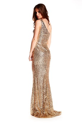 Maxi Sheath One-Shoulder Sleeveless Sequin Prom Dress With Brush Train