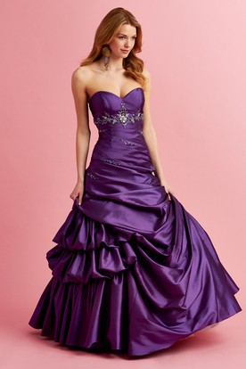 A-Line Long Sweetheart Sleeveless Satin Dress With Pick Up And Beading