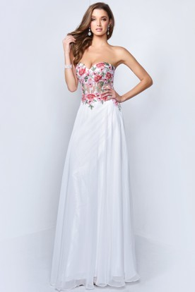 Sheath Long Sweetheart Sleeveless Backless Dress With Appliques And Flower