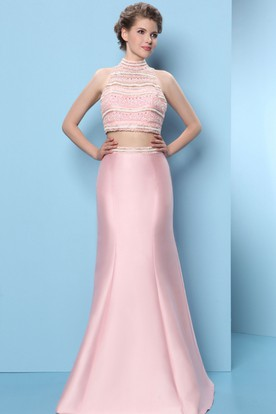 Trumpet High-Neck Beaded Long Sleeveless Satin Prom Dress