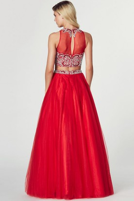 A-Line High Neck Beaded Sleeveless Tulle Prom Dress With Illusion Back