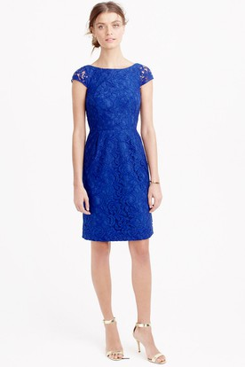 Mini Appliqued Cap Sleeve Bateau Neck Lace Bridesmaid Dress With Low-V Back