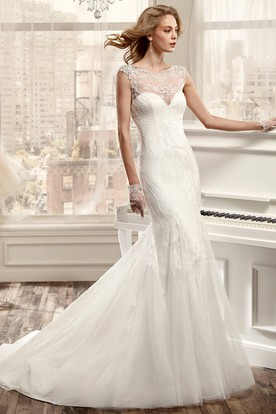 Jewel-Neck Sheath Wedding Dress With Beaded Bodice And Open Back