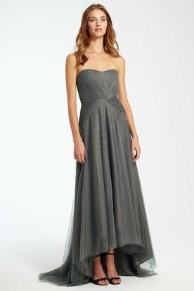 High-Low Strapless Ruched Tulle Bridesmaid Dress With Brush Train