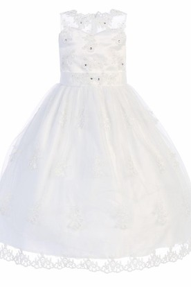 Tea-Length Sweetheart Tiered Beaded Lace&Organza Flower Girl Dress