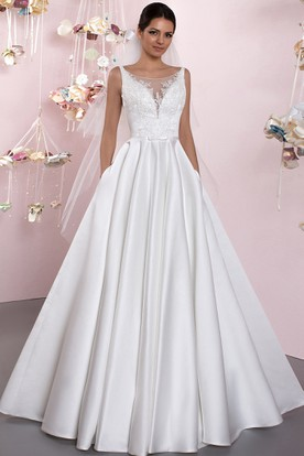 Ball-Gown Bateau Lace Sleeveless Floor-Length Satin Wedding Dress With Deep-V Back And Pleats