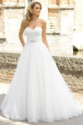 A-Line Sweetheart Jeweled Tulle Wedding Dress With Criss Cross
