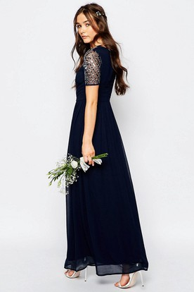 A-Line Short-Sleeve Sequined Jewel-Neck Ankle-Length Chiffon Bridesmaid Dress With Pleats