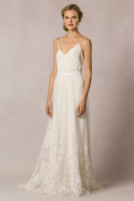 Sheath Floor-Length Appliqued Sleeveless Spaghetti Tulle&Lace Wedding Dress