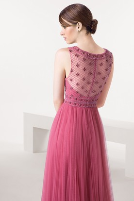 Sheath Bateau Neck Sleeveless Beaded Tulle Prom Dress