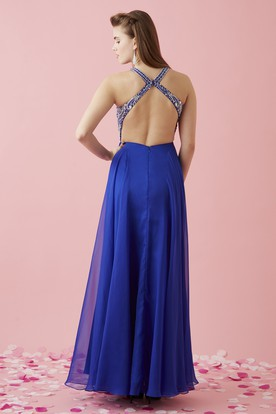 A-Line Floor-Length V-Neck Sleeveless Chiffon Straps Dress With Beading