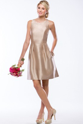 Sleeveless A-Line Short Satin Bridesmaid Dress With Pockets And Keyhole Back