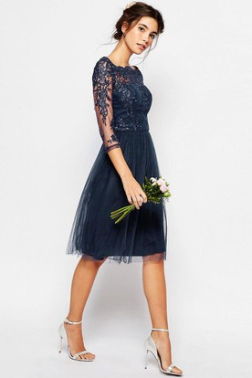 3-4-Sleeve Bateau-Neck Knee-Length Tulle Bridesmaid Dress With Illusion
