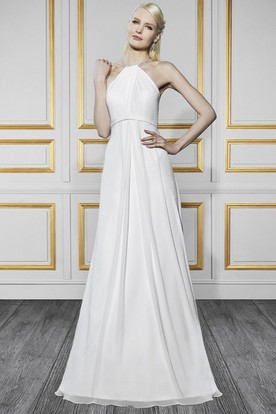 High Neck Floor-Length Beaded Chiffon Wedding Dress With Brush Train And Keyhole