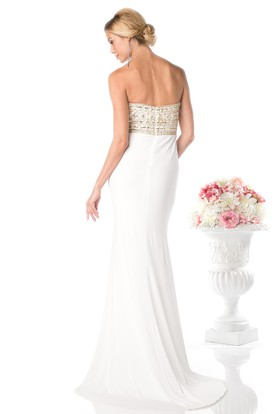 Sheath Strapless Sleeveless Jersey Backless Dress With Beading