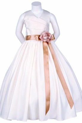 V-Neck Ankle-Length Tiered Satin Flower Girl Dress