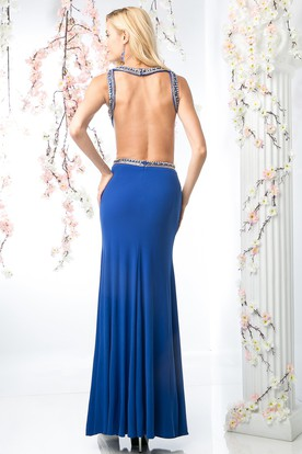 Sheath Scoop-Neck Sleeveless Jersey Backless Dress With Split Front And Beading