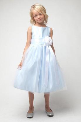 Tea-Length Tiered Tulle&Satin Flower Girl Dress