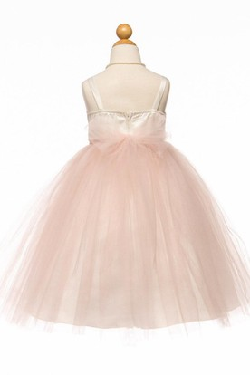 Spaghetti Tea-Length Empire Tiered Tulle&Satin Flower Girl Dress