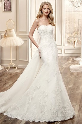 Strapless Lace Long Wedding Dress With Low Back And Chapel Train